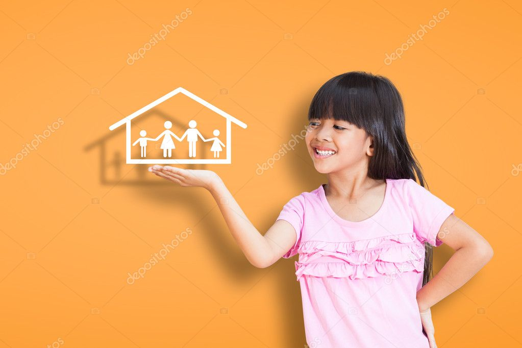 Smiling little girl showing on family symbol over simply background stock vector