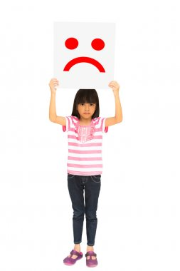 Unhappy little girl showing paper with unhappy icon over her hea