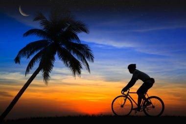 Silhouette Mountain bike rider
