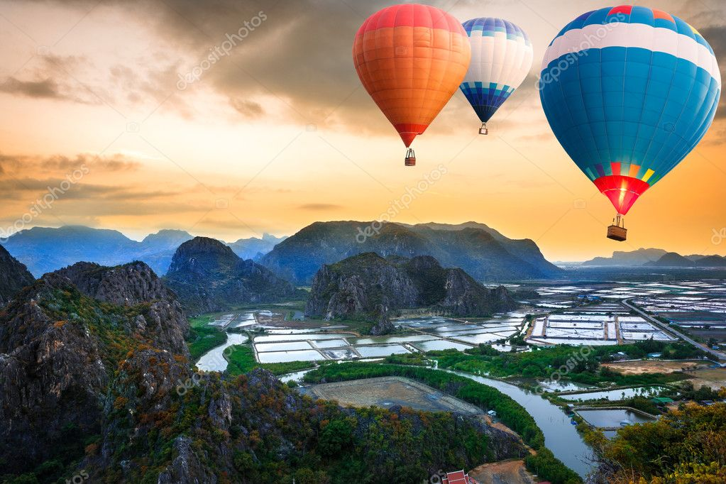 Hot air balloons floating up to the sky