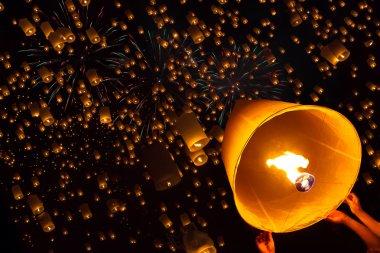 Floating lantern, Yi Peng,Firework Festival