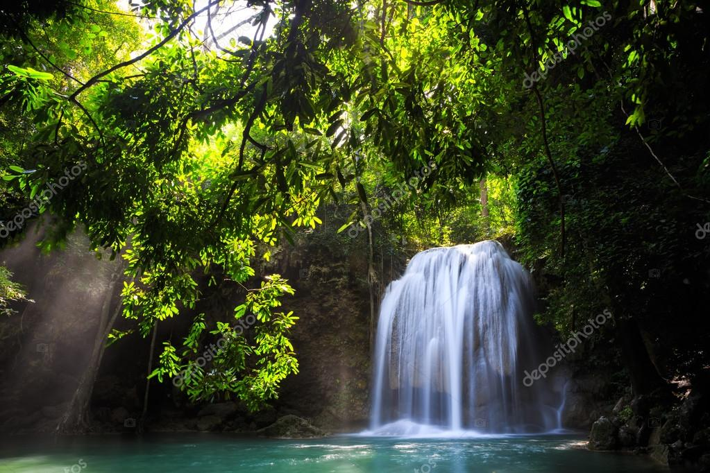 Фотообои Deep forest Waterfall in Kanchanaburi, Thailand