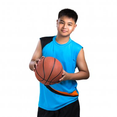Teenager boy with basket ball