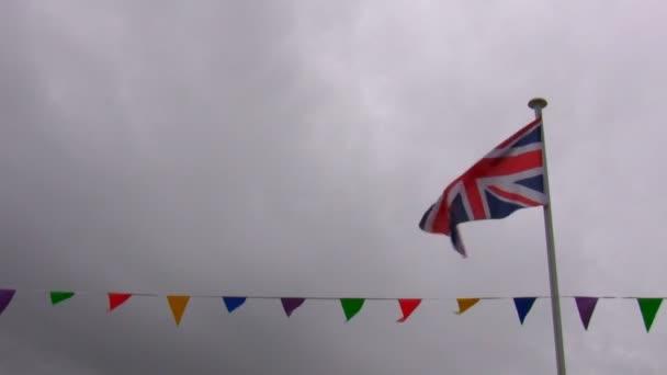 Union jack zászló, sármány sor és brit Időjárás