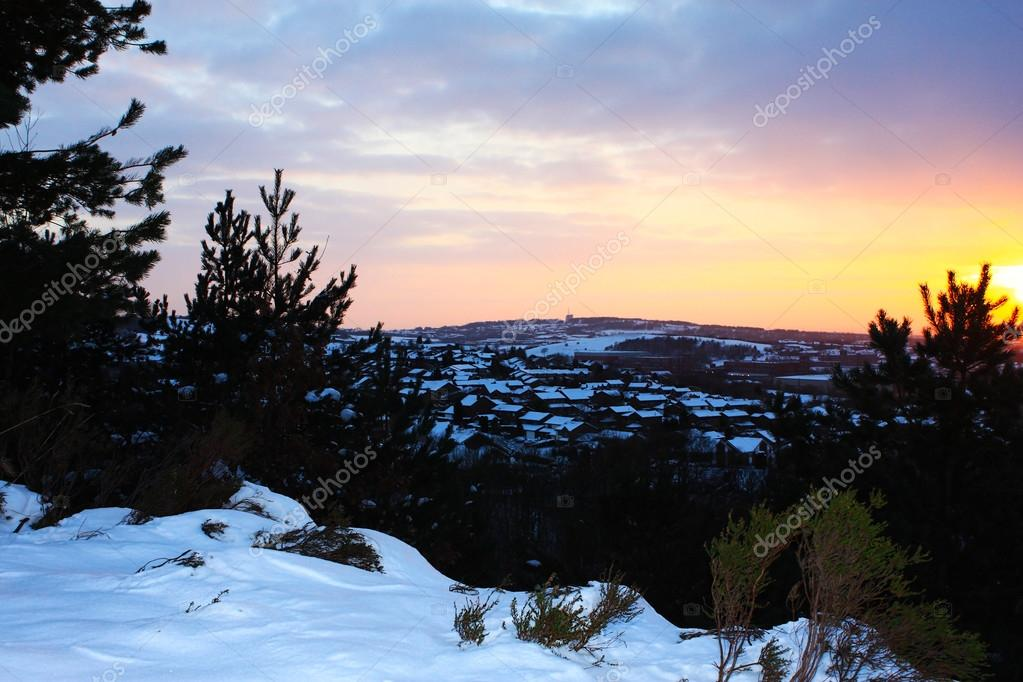 Winter sunset over snowy Rochdale town