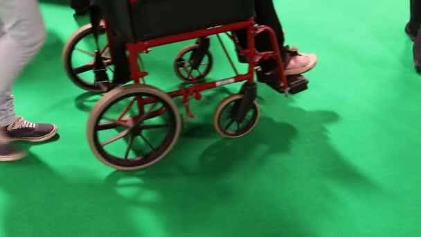 Menschen und Rollstuhl auf Grün