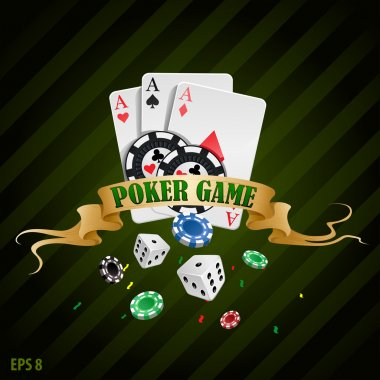 Vector illustration poker gambling chips poster . poker collection with chips, dices, cards