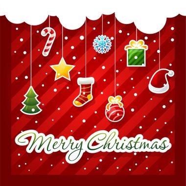 Christmas Greeting Card. christmas items icons.