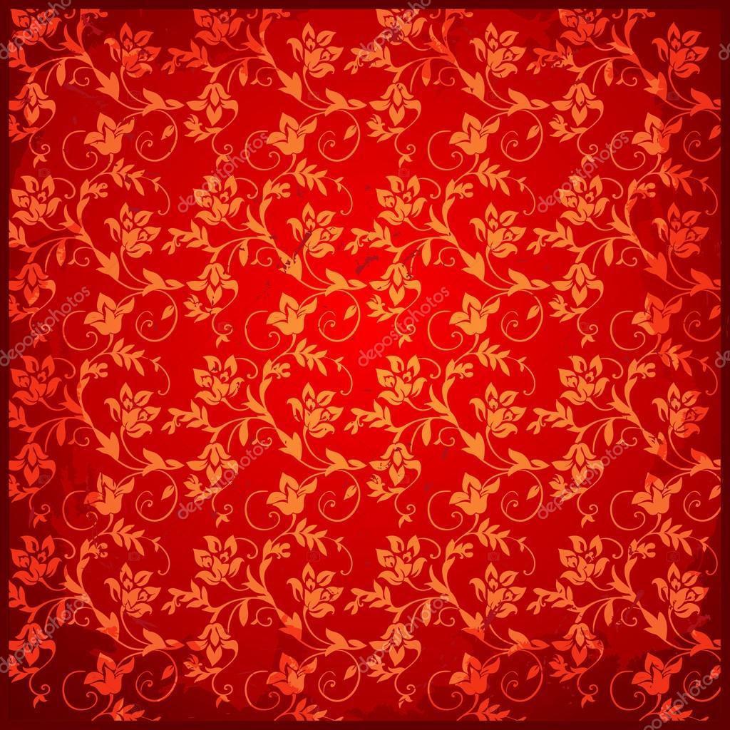 Red vintage background floral pattern