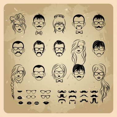 Vintage girls faces with hair, sunglasses and shape of the lips.mans Faces with Mustaches, sunglasses,eyeglass es and a bow tie clip art vector
