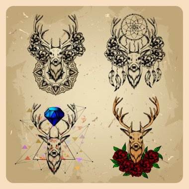 Set Deer with flowers and dream catcher