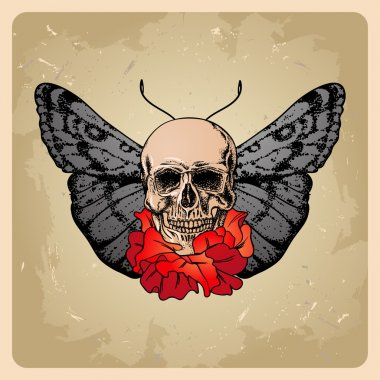 Skull with flowers and a moth