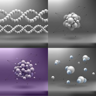 Set molecules spheres abstract background . molecular structure
