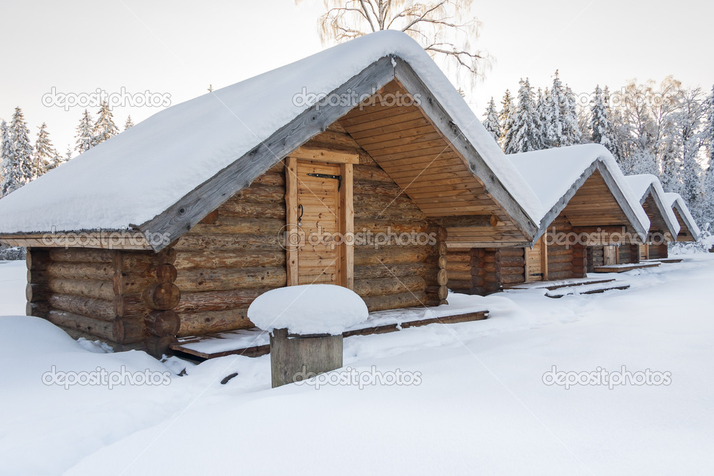Small Camping Houses At Snowy Winter Day Stock Photo C Risto40