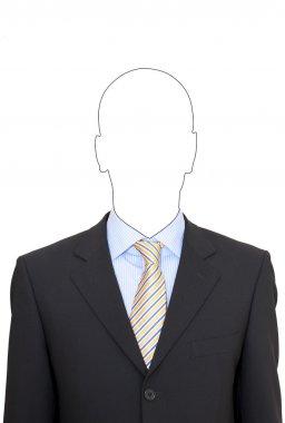 Portrait of a faceless business man in suit