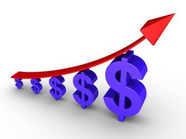 Rising graph and dollars