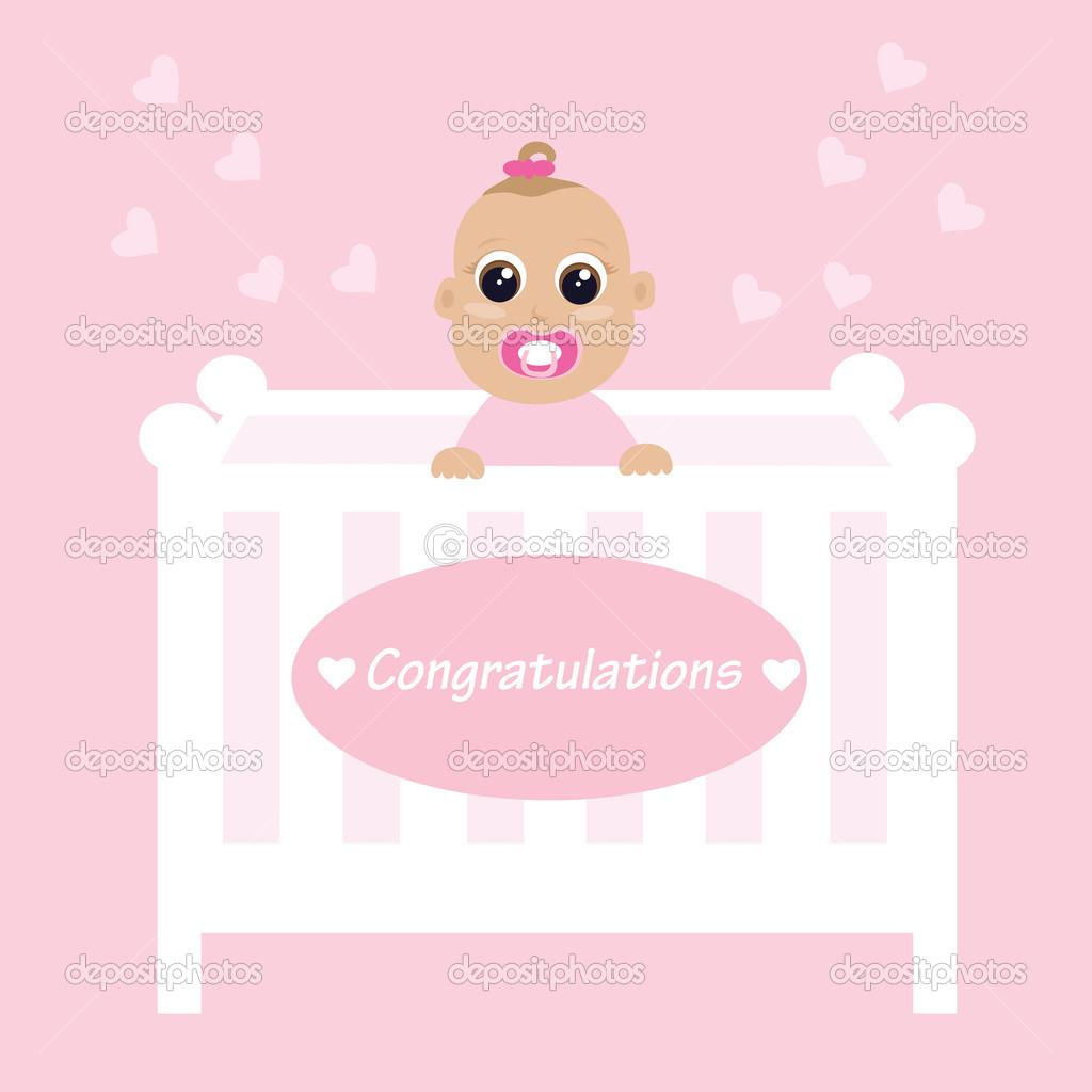 bebis gratulationer Baby flicka — Stock Vektor © FanFan30 #12050626 bebis gratulationer