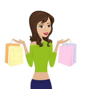 Woman holding shopping bags clip art vector
