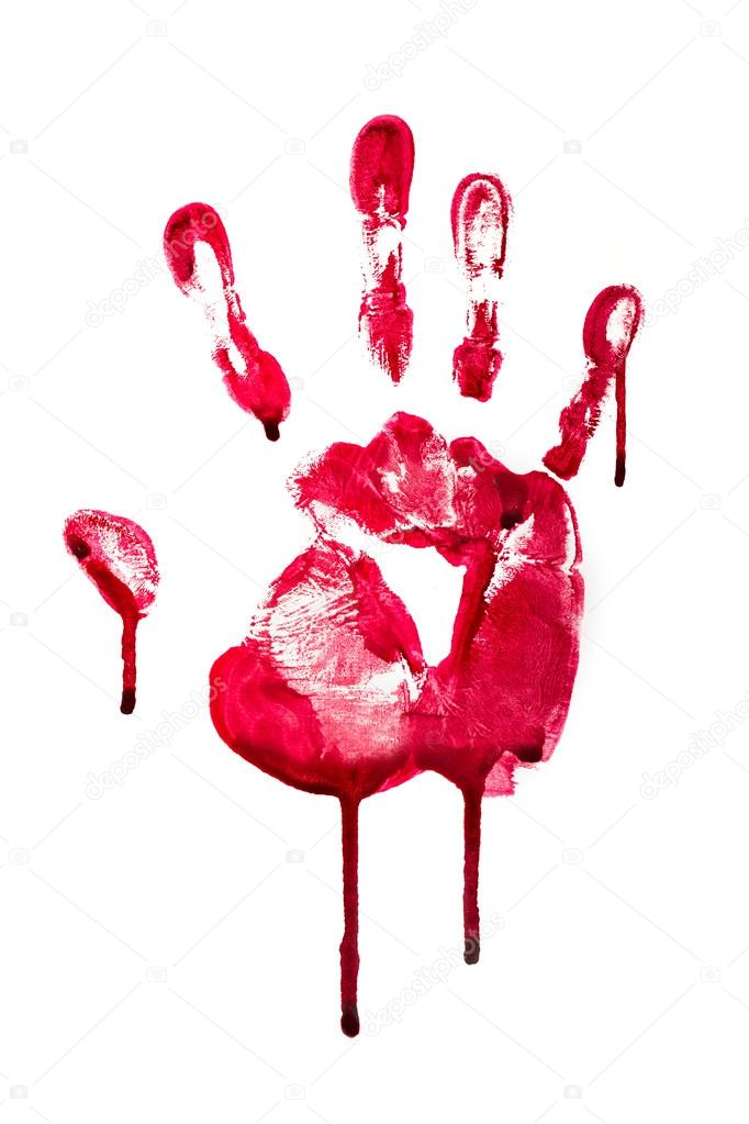 Horror blood hand print