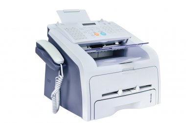 Grey computer printer,fax, telephone isolated