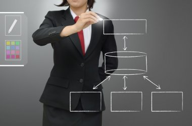 Business woman drawing database concept diagram