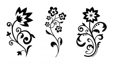 Silhouettes of abstract vintage flowers. Vector elements for art design