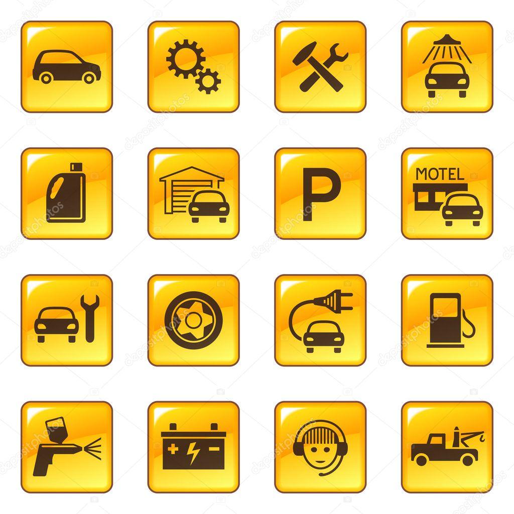 Car service and repair icons