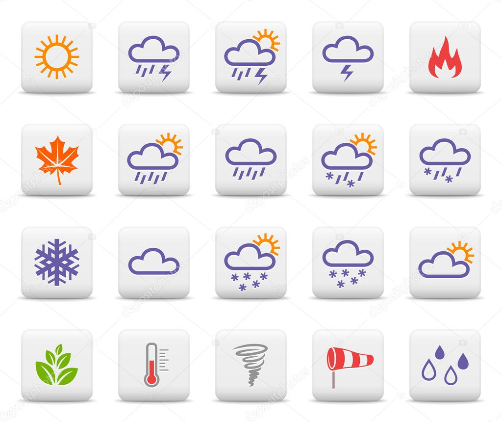 Weather and seasons icon set