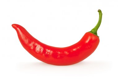 Red chili pepper isolated on white with clipping path