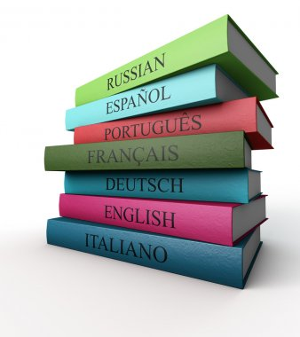 Seven dictionaries each other, Italian, French, Spanish, Portugu