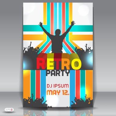 Retro disco party. Abstract flyer design template