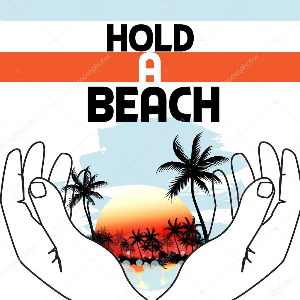 Tropical Beach held by hands design template