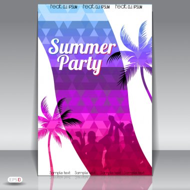 Summer Beach Party Flyer with Dancing Young