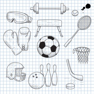 Vector illustration of objects on the topic of sports stock vector