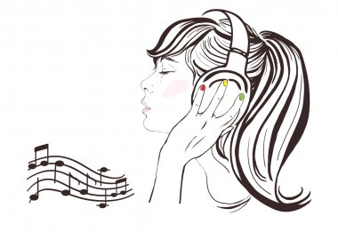 Pretty girl with long hair in headphones. Vector hand-drawn illustration