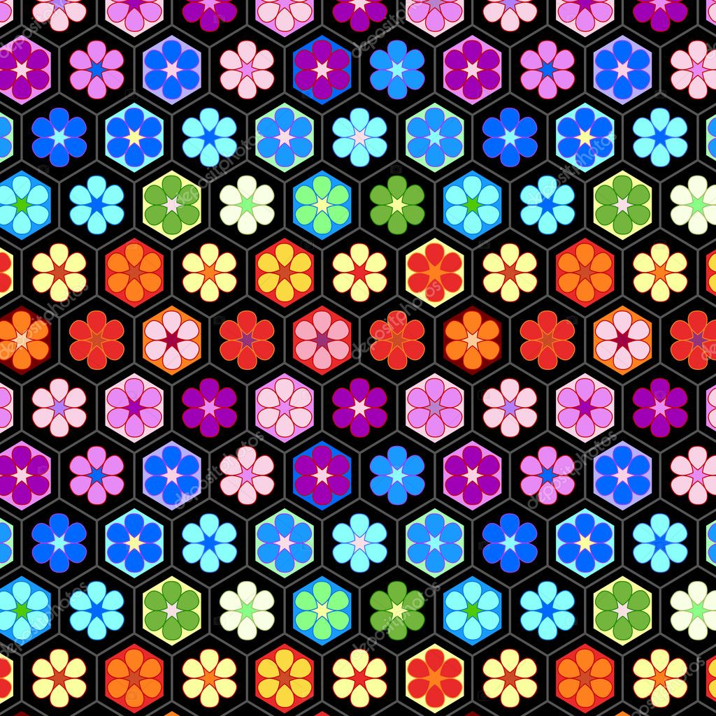 Bunte Häkeln Blumen Nahtlose Muster Vektor Stockvektor Natalyon