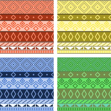 Aztec native american seamless pattern, four colors set, vector