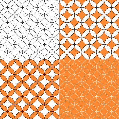 Overlapping circles seamless pattern, four colors set, vector