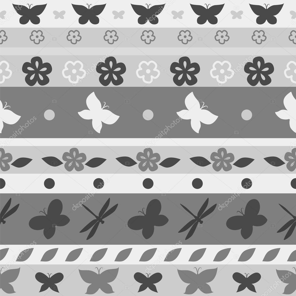 patrón sin costuras mariposa rayas en tonos de gris, vector — Vector ...