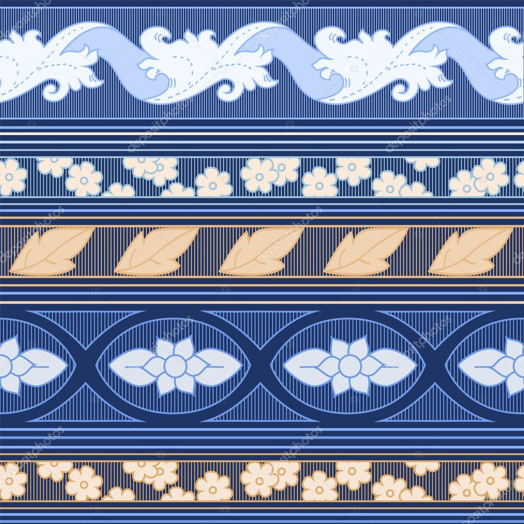 Striped blanket on dark blue seamless pattern, vector