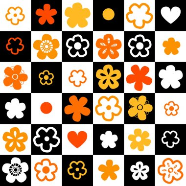Black and white and orange checkered floral seamless pattern, vector