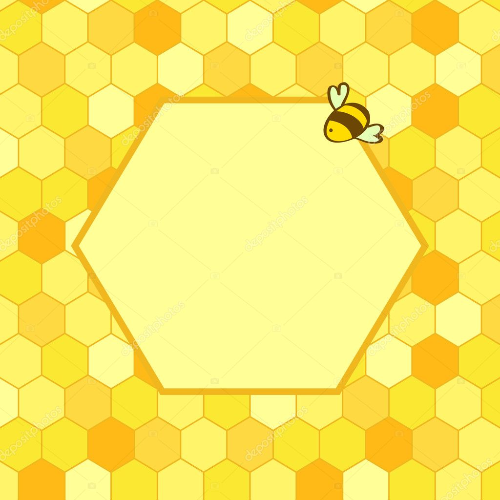 Honeycomb background with a hex frame for your text and a cartoon honeycomb background with a hex frame for your text and a cartoon bee vector voltagebd Image collections