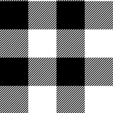 Checkered black and white simple fabric seamless pattern, vector