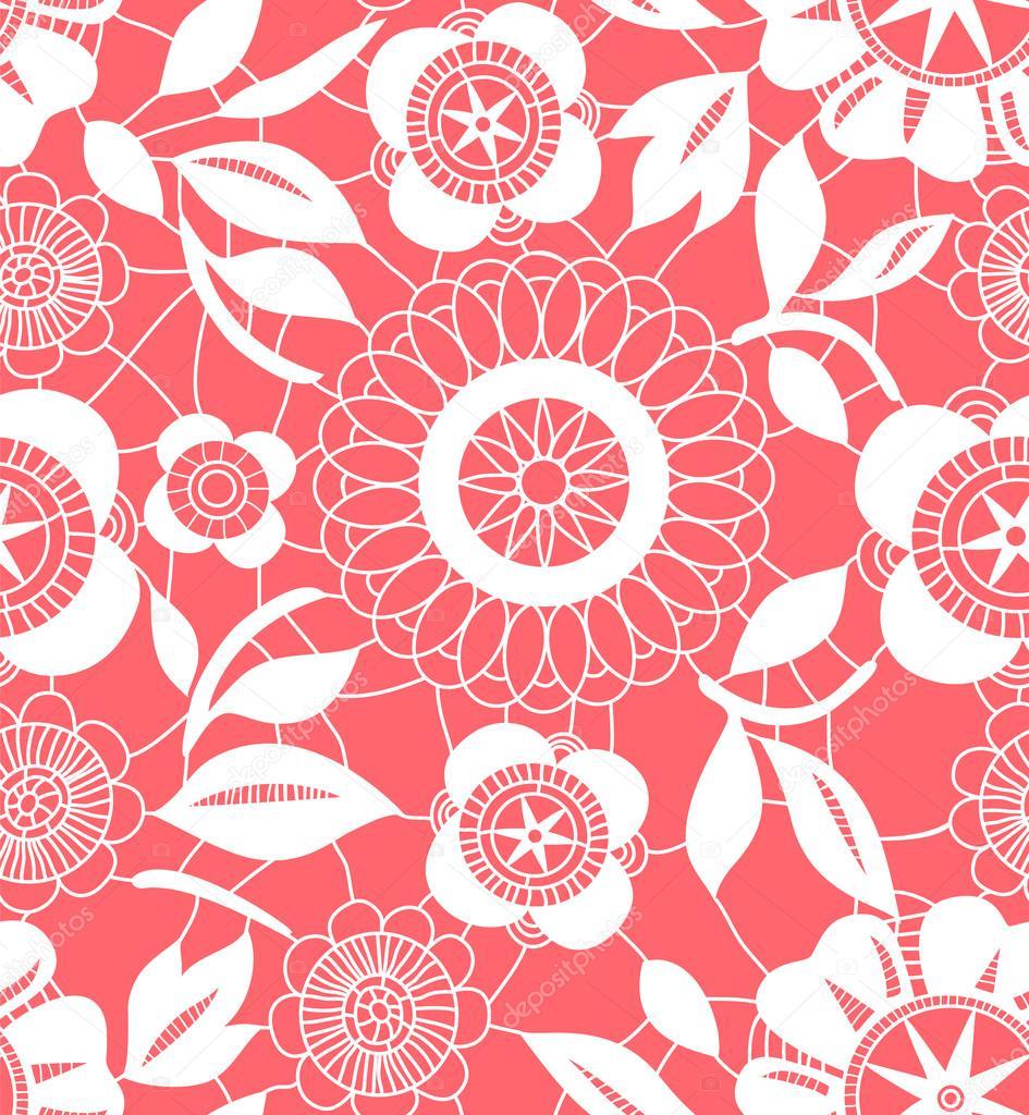 crochet flores rosas y blancas de encaje patrones sin fisuras ...