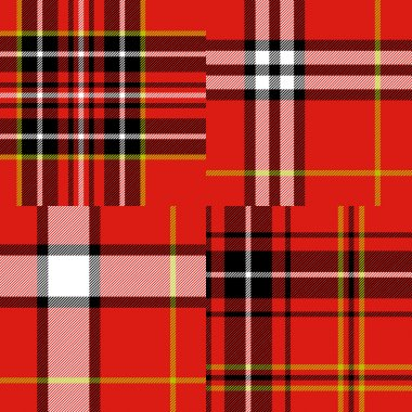 Scottish traditional tartan fabric seamless pattern set in red and black and white, vector