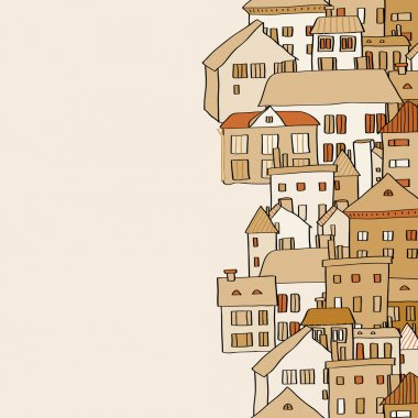 Vertical real estate town houses banner seamless pattern in shades of brown, vector