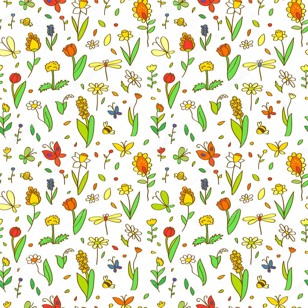 Fresh Spring Cartoon Flowers Seamless Pattern On White Vector