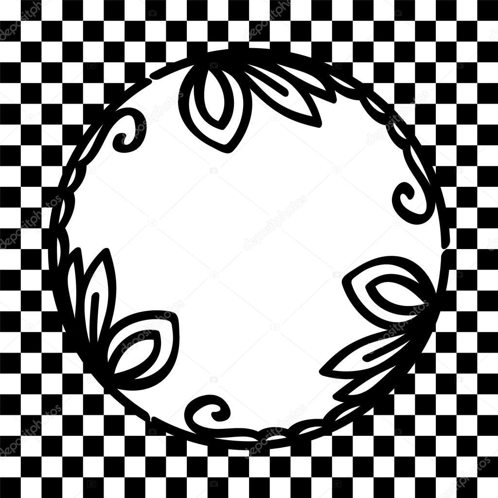 redondo marco viñeta floral blanco y negro en tarjeta de fondo a ...