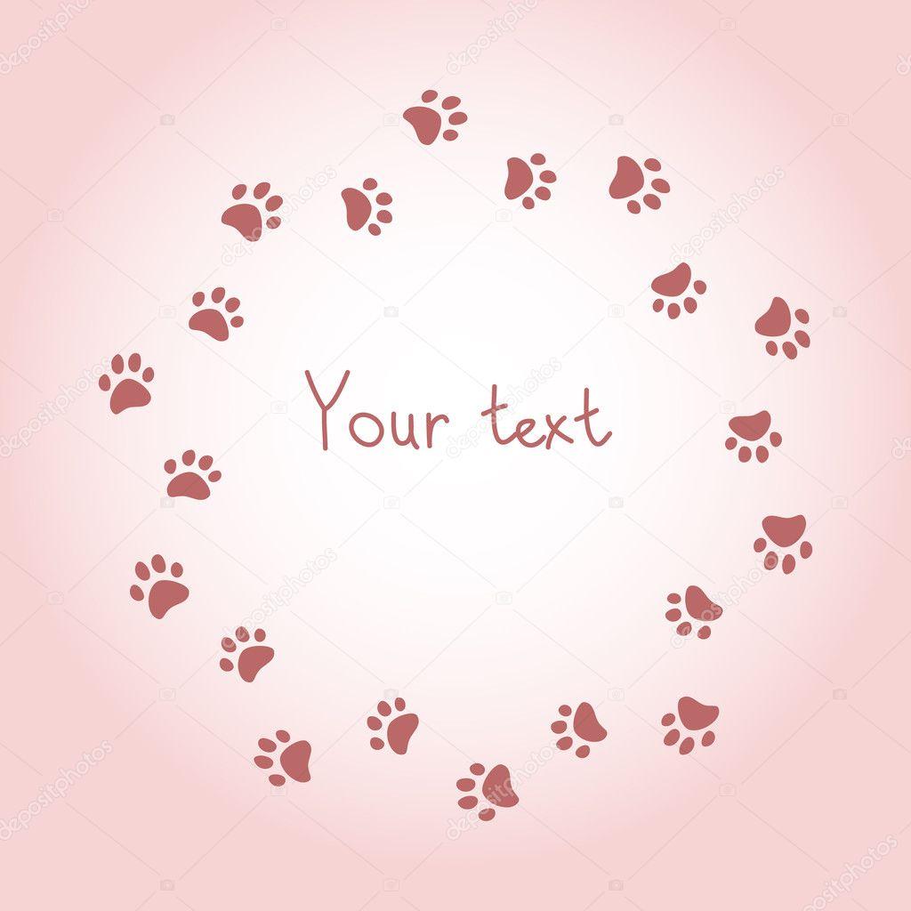 Katze oder Hund Pfote druckt Rosa Runde Rahmen für Ihren ...