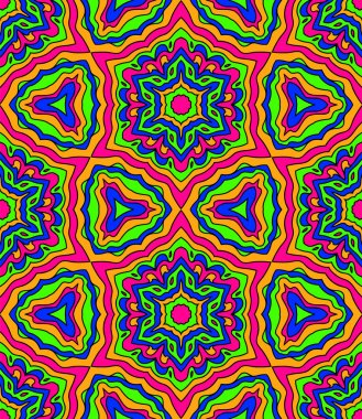Abstract crazy colorful kaleidoscope seamless pattern in pink and blue and green, vector